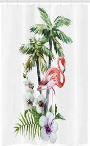 abakuhaus duschvorhang badezimmer deko set aus stoff mit haken breite 120 cm höhe 180 cm flamingo aquarell kunst bäume kaufen otto