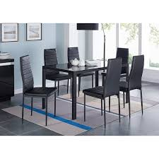 IDS Home 7 Pieces Modern Glass Dining Table Set Faxu Leather With 6 Chairs Black