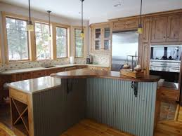 Amazing Design Of The Wood Kitchen Countertops With Brown Color Ideas Added Grey Island