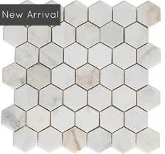 discount marble 2 inch hexagon mosaic polished gold