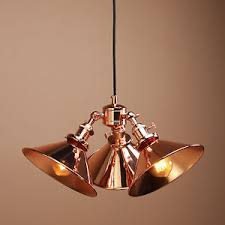 three headed vintage industrial copper hanging pendant light shade