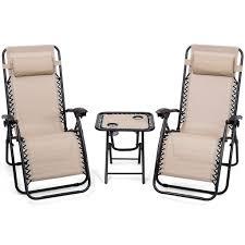 Giantex 3PC Zero Gravity Reclining Lounge Chairs Cushions Table Portable  Folding Picnic Camping Set Outdoor Furniture OP3475CF