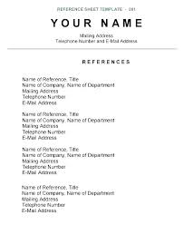 Format For Resume References Sample Job Reference List Examples On A T Search