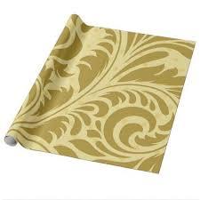 Lemon Golden Flourish Filigree Wrapping Paper craft supplies diy
