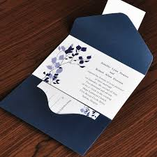 Country Rustic Style Floral And Navy Blue Pocket Inexpensive Wedding Invitation EWPI017 As Low 169