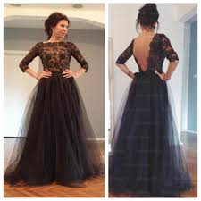black prom dress lace prom dress long sleeves prom dress