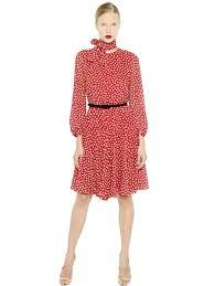 max mara printed silk georgette dress in red lyst