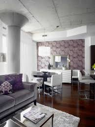 Trendy Living Room Photo In Toronto With Purple Walls