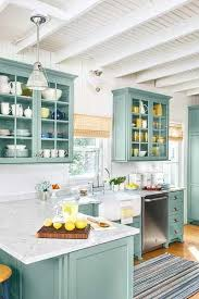 Coastal Kitchen With A Variety Of Differen Colored Dishes