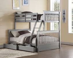 Haley II French Gray Finish Twin over Full Bunk Bed Storage Drawers