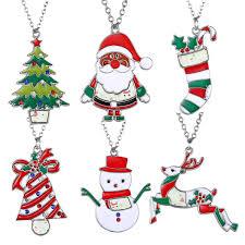 Christmas Gift Necklace Party Favors Cartoon Santa Snowman Deer