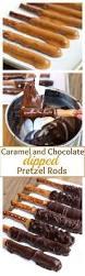 Halloween Pretzel Rod Treats by Caramel And Chocolate Dipped Pretzel Rods The Homemade Caramel
