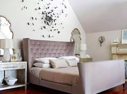 Romantic Wall Decoration And Upholstered Bed In Light Grayish Purple Color Butterflies Decorations Vintage Decor