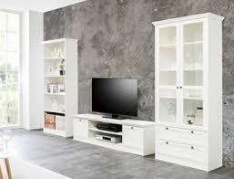 wohnwand landström 150 weiß 3 teilig lowboard vitrine bücherregal medienwand wohnzimmer landhausmöbel