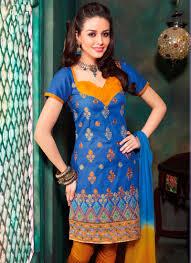 Indian Blue Cotton Churidar Salwar Suit