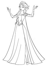 Queen Elsa Singing Coloring Pages