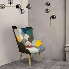 sessel modern design stuhl mit patchwork armlehnen patchy chic