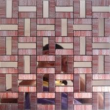Metal Adhesive Backsplash Tiles by And Stick Tile Red Aluminum Metal Wall Tile Adhsive Mosaic Kitchen