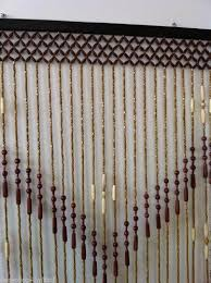 brown natural wooden bamboo beaded bead door curtain ts1
