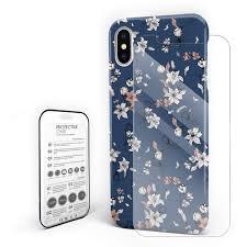 100 Flannel Flower Glass Amazoncom Retro Elegance Blue Phone Case