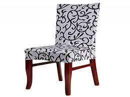 Soft Fit Stretch Short Dining Room Chair Covers Printed Pattern From Seat Protectors