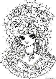 Amusing Adult Flower Coloring Pages Print Back To Childhood Manga Girl Flowers