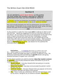 OCR Drama Written Exam Section B