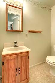 hellgrün badezimmer mit beige teppichboden mit blick auf das holz waschbeckenschrank und spiegel