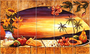 mexican tiles sunset tile murals tropical kitchen backsplashes