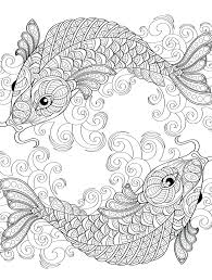 Printable Fish Coloring Pages For Adults Yin Yang Pieces Symbol Page Free Book Pdf Full