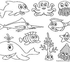 Sea Creature Coloring Pages Underwater Animal 01 Ideas For Childs Quilt Free