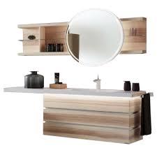 thielemeyer fresh badmöbel set 801001 in strukturesche massiv mit weißen absetzungen mit unterschrank waschtischplatte hängeregal mit spiegel