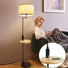 depuley e27 led stehle warmweiß metall holz tisch stehleuchte schwarz schlafzimmer mit usb anschluss kippschalter 720lm 3000k 9w birne für
