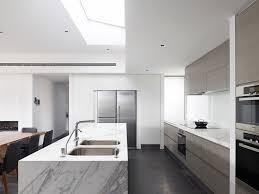 Modern White Kitchen Dark Floor Ysnru