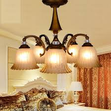 Rustic 5 Light Glass Shade Dining Room Chandeliers