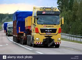 100 How Wide Is A Semi Truck ORIVESI FINLND SEPTEMBER 1 2016 Yellow MN V8 Semi Truck Hauls