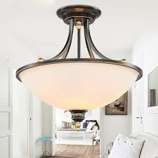 country flush mount ceiling light with wrought iron for living room
