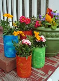 Recycled Soup Cans Turned Into Flower Pots