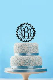 Circle Vine Monogram Wedding Cake TopperCustom Initials Topper Olive Branch