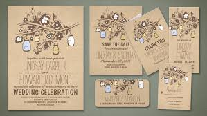 Kraft Rustic Mason Jars Fancy Wedding Invitations