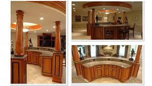 Wet Bar Design With Custom Wooden Round Designs And Classy Recessed Lighting Ideas