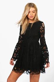 boutique fi lace bell sleeve fit u0026 flare dress boohoo