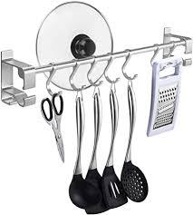 lc team hakenleiste selbstklebend ohne bohren 50cm mit 7 haken küchenregal aus rostfreiem edelstahl küchen stange in schlafzimmer badezimmer küche für
