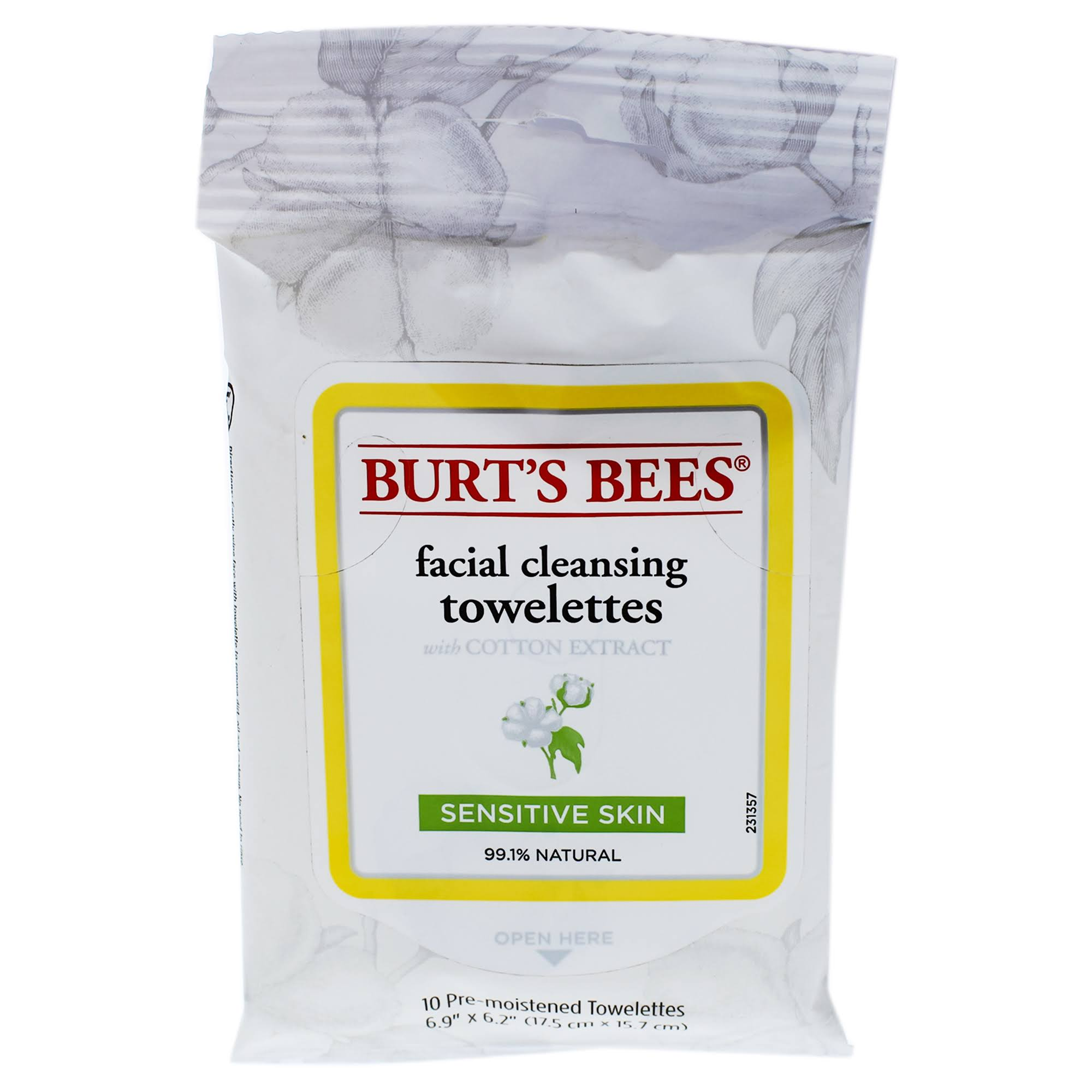 Burt's Bees Sensitive Facial Cleansing Towelettes - 30 Pre-Moistened Towelettes