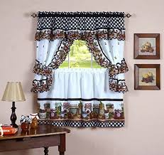 Naturally Home Mason Jars Kitchen Curtain Cottage Set Tiers And Ruffled Swag 36 Inch Long