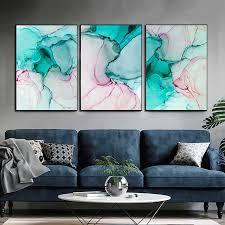 moderne minimalismus spray farbe grün rosa marmor leinwand malerei wand poster drucken tinte abstrakte bilder wohnzimmer dekoration