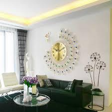 53cm Large 3D Gold Diamond Peacock Silent Wall Clock Modern Design Clocks Home Decor European Style Hanging Wall Watch Clocks