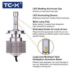 tc x 2pcs high lumen 7000lm led car headlights bulb kit h4 hi lo