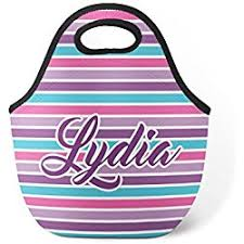 Personalized Girls Gift Neoprene Lunch Tote Bag Pink Purple Turquoise Blue Stripes