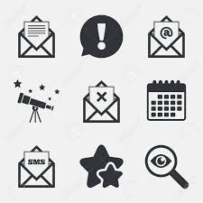 Mail Envelope Icons Message Document Symbols Post Office Letter